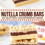 With a buttery shortbread base, a thick layer of Nutella in the middle, and crumble topping - these Nutella bars are irresistible. #nutella #bars #crumbbars #shortbread #slice #chocoalte #hazelnut from Just So Tasty