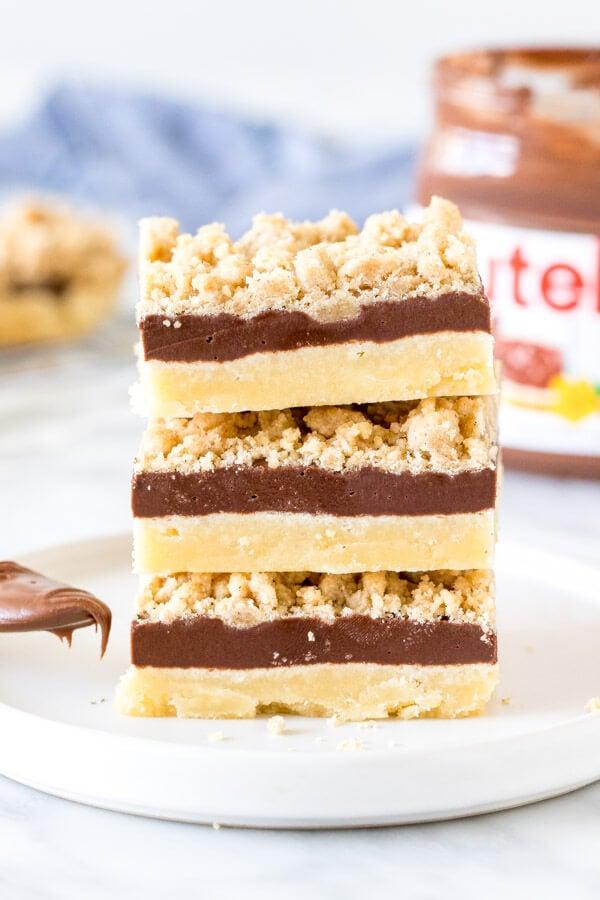 Stack of 3 Nutella crumb bars