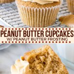 These tender cupcakes are made with peanut butter in the batter and are topped with creamy peanut butter frosting. They have a double dose of peanut butter for the perfect peanut butter cupcake recipe. #peanutbutter #cupcakes #frosting #peanutbuttercups #peanutbuttercupcakes #cake