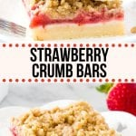 These strawberry crumb bars have a buttery shortbread base, a layer of fresh juicy strawberries & are topped with delicious cinnamon streusel. The perfect way to enjoy fresh, in-season berries.#strawberries #bars #crumbbars #stresusel #strawberrycrisp #strawberrycrumble recipe from Just So Tasty
