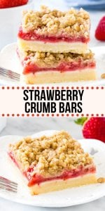 These strawberry crumb bars have a buttery shortbread base, a layer of fresh juicy strawberries & are topped with delicious cinnamon streusel. The perfect way to enjoy fresh, in-season berries. #strawberries #bars #crumbbars #stresusel #strawberrycrisp #strawberrycrumble recipe from Just So Tasty