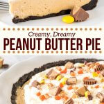 This easy, no-bake peanut butter pie is seriously delicious. With an Oreo cookie crust, creamy peanut butter filling, whipped cream, and peanut butter candies - it's a peanut butter lover's dream! #peanutbutterpie #nobake #easy #Oreocrust #peanutbuttercups #peanutbutter #pie #recipe from Just So Tasty