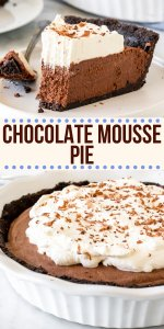 Decadent, creamy, and perfectly rich - this chocolate mousse pie is a showstopper. It's completely no-bake, and easier to make than you may think!#mousse #chocolatemousse #pie #nobake #chocolatecreampie #pie #recipe from Just So Tasty