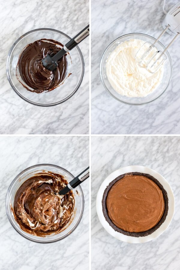 Collage of 4 step process for making chocolate mousse pie filling