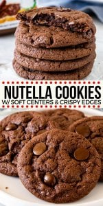 Love Nutella? These soft and chewy Nutella cookies are filled with chocolate chips and have a delicious chocolate hazelnut flavor. Adding Nutella to your cookie dough makes for one delicious treat. #nutella #cookies #chocolatechip #recipe from Just So Tasty