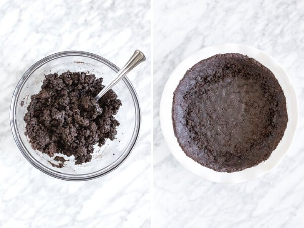 2 step collage showing how to make Oreo cookie crust for pie