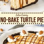 Caramel, pecans and chocolate come together in this delicious turtle pie. It's no-bake with a delicious Oreo cookie crust and creamy caramel filling. #caramel #pie #nobake #edwardspie #creamy #chocolate #oreocrust #summerrecipe #recieps #easy from Just So Tasty