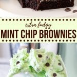 Fudgy brownies topped with creamy mint chip frosting! This easy brownie recipe turns your favorite ice cream into the perfect treat.