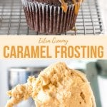 This fluffy caramel frosting is simply the best. Thick and fluffy with a delicious caramel flavor and a hint of salt - it packs a punch on cakes and cupcakes. #caramel #frosting #buttercream #salted #saltedcaramel #cakes #cupcakes from Just So Tasty