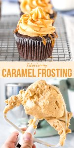 This fluffy caramel frosting is simply the best. Thick and fluffy with a delicious caramel flavor and a hint of salt - it packs a punch on cakes and cupcakes.#caramel #frosting #buttercream #salted #saltedcaramel #cakes #cupcakes from Just So Tasty