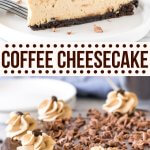 This extra creamy coffee cheesecake has an Oreo cookie crust, delicious espresso flavor, and a coffee-infused chocolate ganache on top. It's a decadent dessert that's perfect for coffee lovers.#cheesecake #coffee #espresso #mocha #baked #chocolate #homemade #recipe from Just So Tasty