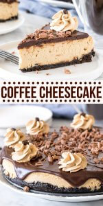 This extra creamy coffee cheesecake has an Oreo cookie crust, delicious espresso flavor, and a coffee-infused chocolate ganache on top. It's a decadent dessert that's perfect for coffee lovers. #cheesecake #coffee #espresso #mocha #baked #chocolate #homemade #recipe from Just So Tasty