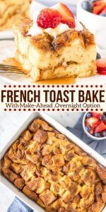 This French Toast Casserole with cinnamon sugar topping is soft and fluffy on the inside, and golden brown on top. It can be refrigerated overnight or baked immediately for a delicious breakfast that feeds a crowd.