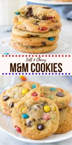 These M&M Cookies will be your new favorite. Soft, chewy & packed with M&Ms - it's an easy cookie recipe that doesn't require any dough chilling.  They can be made with regular or mini M&Ms - but either way - they're the best M&M cookie recipe around. #cookies #M&M #candies #chocolatechip #soft #chewy #easy #nochill from Just So Tasty