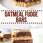 Chewy oatmeal cookie. Rich decadent chocolate. These Oatmeal Fudge Bars are a softer, chewier, more chocolatey version of the Starbucks bars and 1000% better.#fudge #oatmeal #oats #starbucks #bar #chocolate #recipe from Just So Tasty