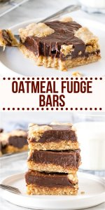 Chewy oatmeal cookie. Rich decadent chocolate. These Oatmeal Fudge Bars are a softer, chewier, more chocolatey version of the Starbucks bars and 1000% better. #fudge #oatmeal #oats #starbucks #bar #chocolate #recipe from Just So Tasty