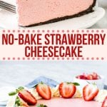 This no-bake strawberry cheesecake is extra creamy and bursting with strawberries. It's easy to make and turns out with a luscious texture, crunchy crust, and delicious strawberry flavor made from real berries.#nobake #strawberry #cheesecake #oreo #easy #creamy #summer #dessert #spring #recipe from Just So Tasty