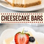 Classic cheesecake bars are creamy, velvety smooth and deliciously tangy with a thick graham crumb crust. Perfect for serving at potlucks or parties - these are made without using a water bath and turn out perfectly every time. #cheesecake #square #bar #newyork #easy #homemade #recipe from Just So Tasty