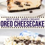 The perfect Oreo cheesecake- this recipe starts with a crunchy Oreo crust and has a delicious New York cheesecake filling with cookies in every bite. Top it with chocolate ganache for an over the top Oreo dessert.#oreo #cheesecake #oreodessert #cookiesandcream #newyorkcheesecake #recipe from Just So Tasty