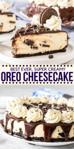 The perfect Oreo cheesecake- this recipe starts with a crunchy Oreo crust and has a delicious New York cheesecake filling with cookies in every bite. Top it with chocolate ganache for an over the top Oreo dessert. #oreo #cheesecake #oreodessert #cookiesandcream #newyorkcheesecake #recipe from Just So Tasty