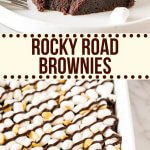 My favorite fudgy brownies topped with marshmallows, peanuts and more fudge. These rocky road brownies are hard to resist. #rockyroad #brownies #marshmallows #peanuts #easy #recipe from Just So Tasty