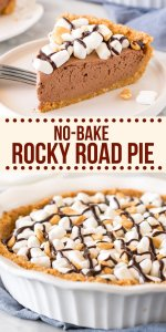 Chocolate, peanuts and marshmallows make this rocky road pie irresistible. With a creamy filling that's completely no-bake, it's the perfect take on rocky road! #rockyroad #pie #cheesecake #easy #nobake #recipe #nobakepie #summer #dessert #marshmallow #chocolate from Just So Tasty