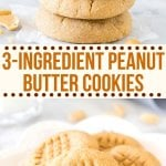 These 3 ingredient peanut butter cookies are soft, chewy & filled with big peanut butter flavor. They taste just as delicious as classic peanut butter cookies - only they take way less effort to make. #peanutbuttercookies #easy #3ingredient #glutenfree #flourless #soft #chewy #peanutbutter #recipes from Just So Tasty