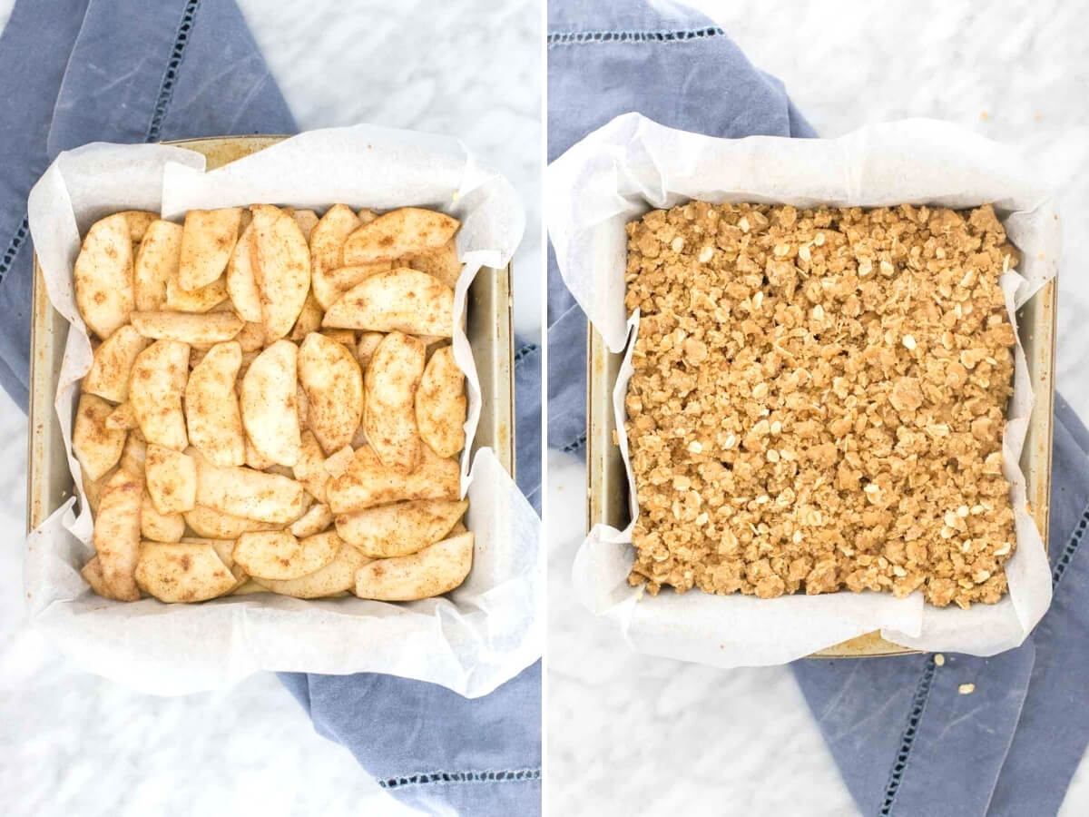Collage showing the apple layer and oatmeal crumble topping for apple crisp bars