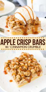 The perfect dessert for apple season - these apple crisp bars have a shortbread crust, cinnamon apples, and oatmeal crumble on top. Delicious with a drizzle of caramel sauce or scoop of ice cream. #applecrisp #applecrumble #bar #applecrispbar #apples #bar #cinnamonapples #caramel #fall from Just So Tasty