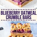 These blueberry oatmeal crumble bars are bursting with juicy blueberries, and filled with crunchy oatmeal crumble. Delicious for breakfast or dessert - these easy crumble bars are always a hit! #blueberrycrumble #fruit #dessert #blueberries #blueberrybars