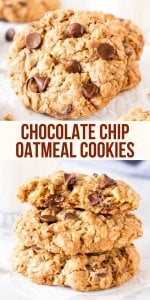 These soft and chewy oatmeal chocolate chip cookies are made with brown sugar, old fashioned oats, chopped walnuts & lots of chocolate chips for the perfect bakery-style cookie. You'll love how easy they are to make #oatmealchocolatechipcookies #chocolatechipcookies #oatmealcookies #easyrecipes #cookies #kids #chewy #easy #cookies #recipe from Just So Tasty