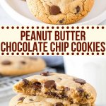 These giant peanut butter chocolate chip cookies are soft and chewy with slightly crispy edges. They have BIG peanut butter flavor with tons of chocolate chips. There's no need to chill the dough, and the cookies taste better than your favorite bakery. #peanutbutter #chocolatechip #cookies #chewy #soft #peanutbuttercookies #easy #nochill #recipes from Just So Tasty