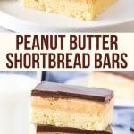 Buttery shortbread, creamy peanut butter filling and chocolate on top make these peanut butter shortbread bars impossible to resist. They're like a peanut butter cup with a layer of cookie on the bottom.Like a millionaire's shortbread - but with peanut butter instead of caramel #shortbread #peanutbutter #millionaires #easy #chocolate #bar #recipe from Just So Tasty