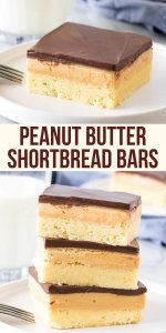 Buttery shortbread, creamy peanut butter filling and chocolate on top make these peanut butter shortbread bars impossible to resist. They're like a peanut butter cup with a layer of cookie on the bottom. Like a millionaire's shortbread - but with peanut butter instead of caramel #shortbread #peanutbutter #millionaires #easy #chocolate #bar #recipe from Just So Tasty
