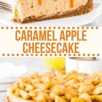 The ultimate apple dessert - this caramel apple cheesecake has a creamy cheesecake filling that's infused with caramel and topped with cinnamon apples. Make it for a fall dessert and wow your guests. #apple #cheesecake #caramelapple #cinnamonapple #fall #cheesecake #baking #recipes #desserts #apple from Just So Tasty