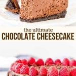 The best chocolate cheesecake recipe - it's creamy and tangy with a delicious chocolate flavor, chocolate cookie crust and chocolate ganache on top. Learn all the tricks to making decadent, restaurant-quality chocolate cheesecake. #chocolate #cheesecake #ultimate #homemade #triplechocolate #chocolate #dessert #dinnerparty #philadelphia recipe from Just So Tasty
