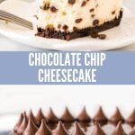 Creamy, delicious New York-style cheesecake with a chocolate cookie crust and dotted with mini chocolate chips - this chocolate chip cheesecake is going to be your new favorite. With a luxurious texture and just the right amount of chocolate. #cheesecake #chocolatechip #chocolate #easy #cookiecrust #chocolate #ganache #recipe #dessert from Just So Tasty.