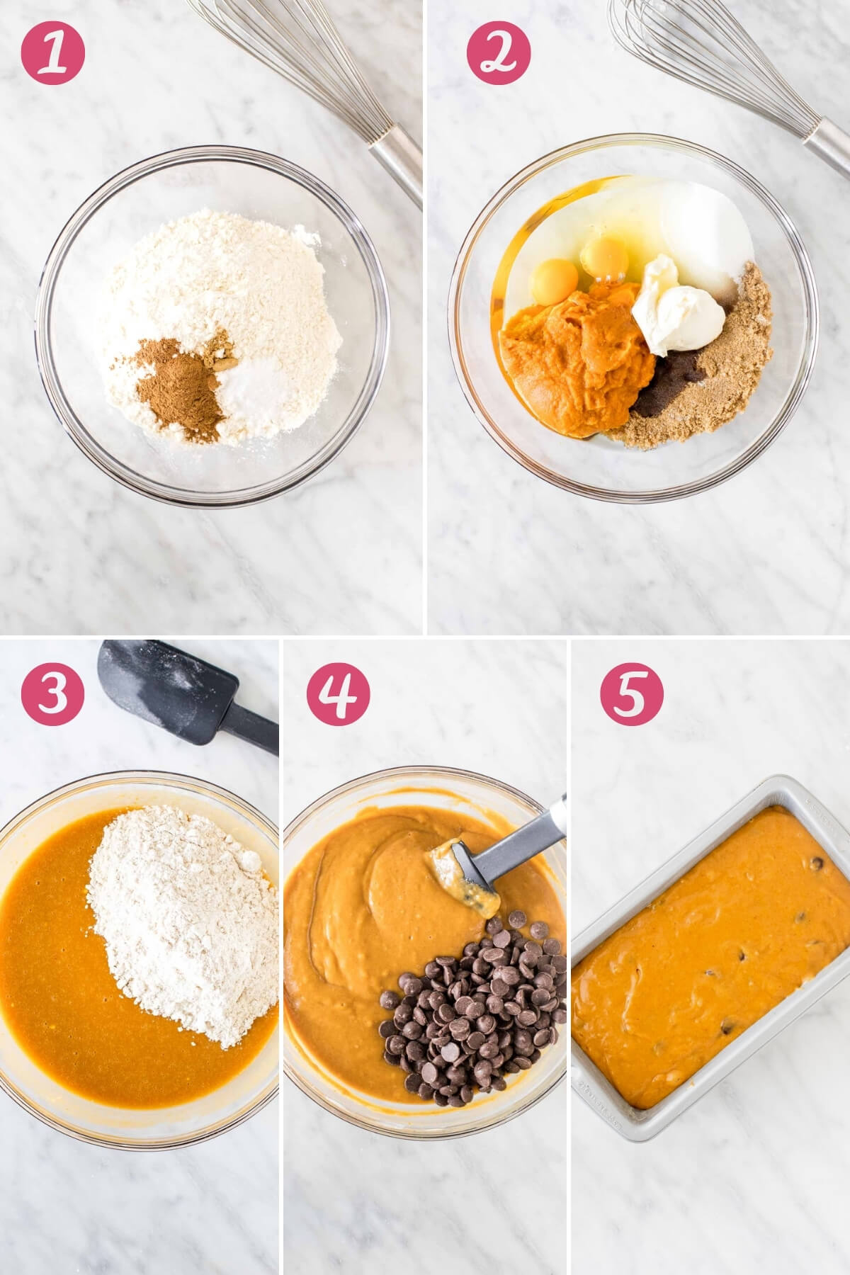 Collage of 5-step process for making pumpkin bread.