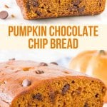 Pumpkin chocolate chip bread is the perfect fall treat. It's moist and tender, filled with warm spices, and dotted with chocolate chips. Make sure to add this recipe to your fall baking list #fall #pumpkin #chocolatechip #bread #loaf #pumpkinbread from Just So Tasty