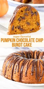Moist pumpkin cake that's dotted with chocolate chips and drizzled with chocolate ganache - pumpkin chocolate chip cake is fall favorite. You'll love the soft cake crumb, hint of chocolate, and how easy it comes together. #pumpkin #chocolatechip #bundtcake #easy #fall #pumpkin #dessert #cake #treats #recipe from Just So Tasty