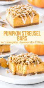 These delicious pumpkin streusel bars have a cinnamon graham cracker crust, creamy pumpkin cheesecake filling, and brown sugar streusel on top. They're a little different than classic pumpkin pie - and even more delicious if you ask me. #pumpkin #bars #streusel #cheesecake #fall #baking #treat #dessert #pumpkinstreuselbar from Just So Tasty