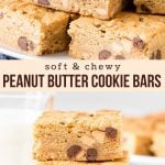 These peanut butter cookie bars are soft, chewy and filled with a combo of chocolate chips and peanut butter chips. Made in a 9x13 inch pan, or you can easily half the recipe for an 8x8 inch pan. #peanutbutter #cookiebars #bars #chocolatechip #cookies #recipe #easy from Just So Tasty