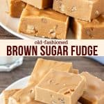 Collage of 2 photos of brown sugar fudge
