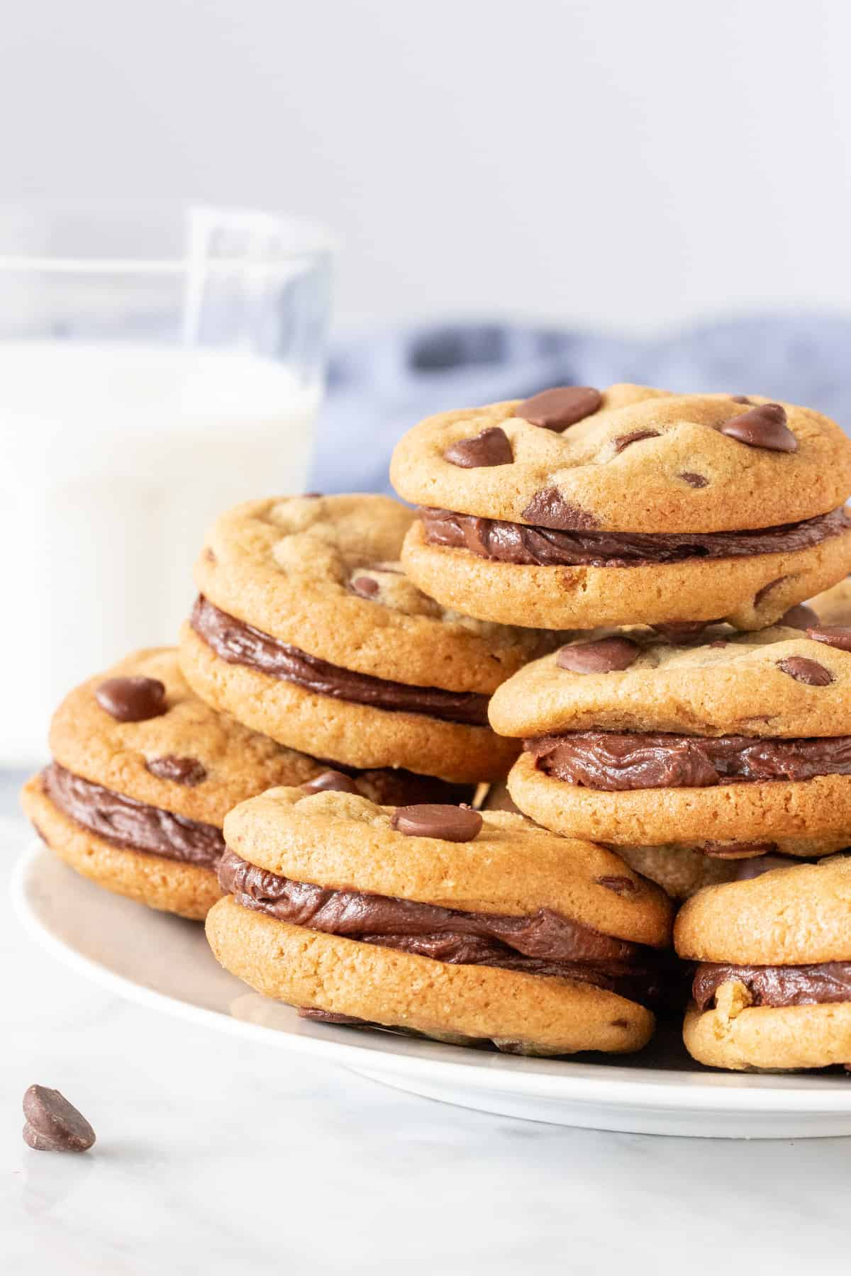 Plate of chocolate chip sandwich cookies