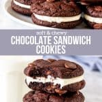 Collage of 2 photos of chocolate sandwich cookies