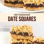 Old-fashioned date squares have a delicious oatmeal crumble and chewy date middle. This recipe has the perfect ratio of crumble to filling, with a hint of cinnamon for a delicious flavor.#datesquares #matrimonialbars #matrimonial #dates #crumble #oldfashioned #dainties from Just So Tasty