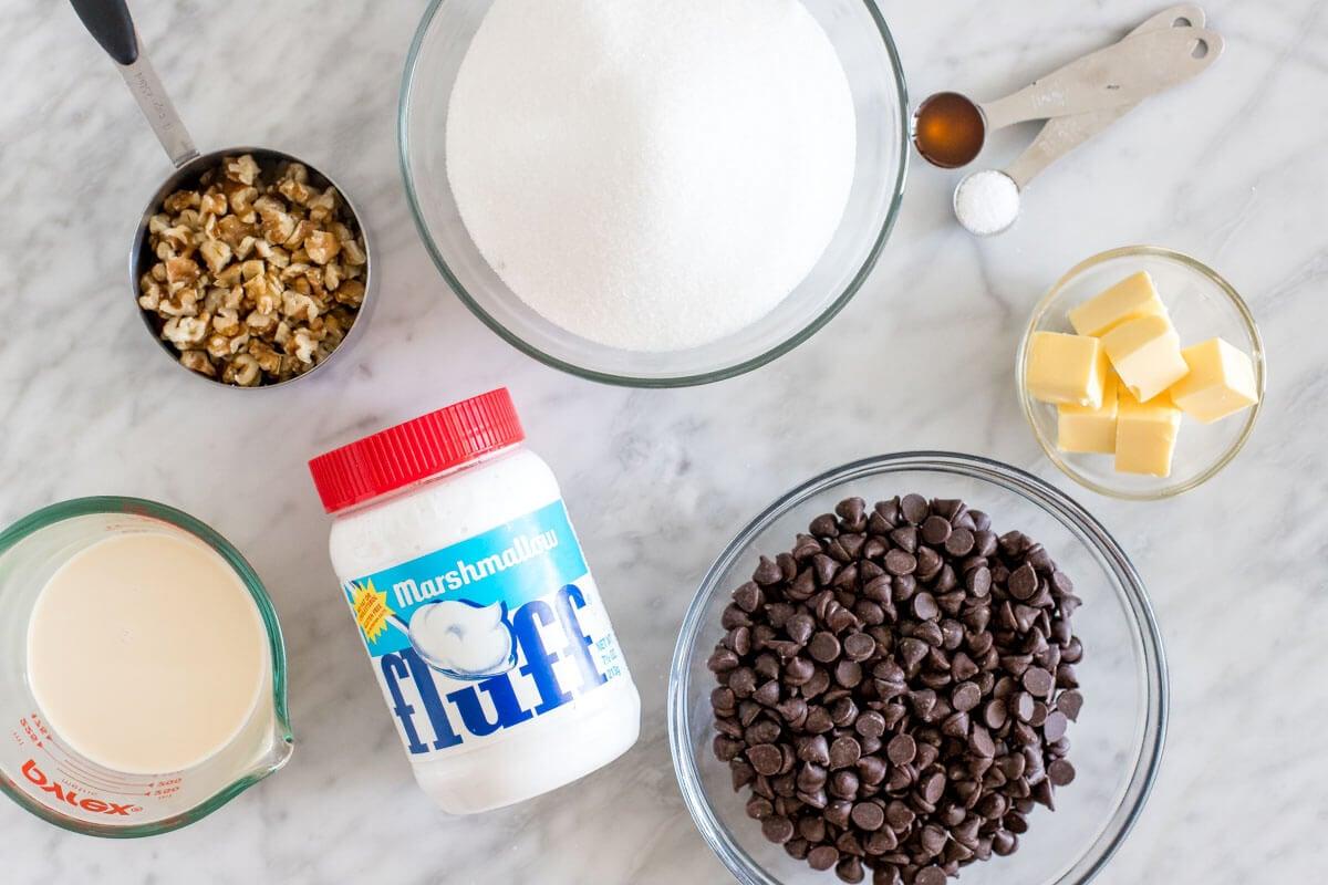 Ingredients for making chocolate fudge
