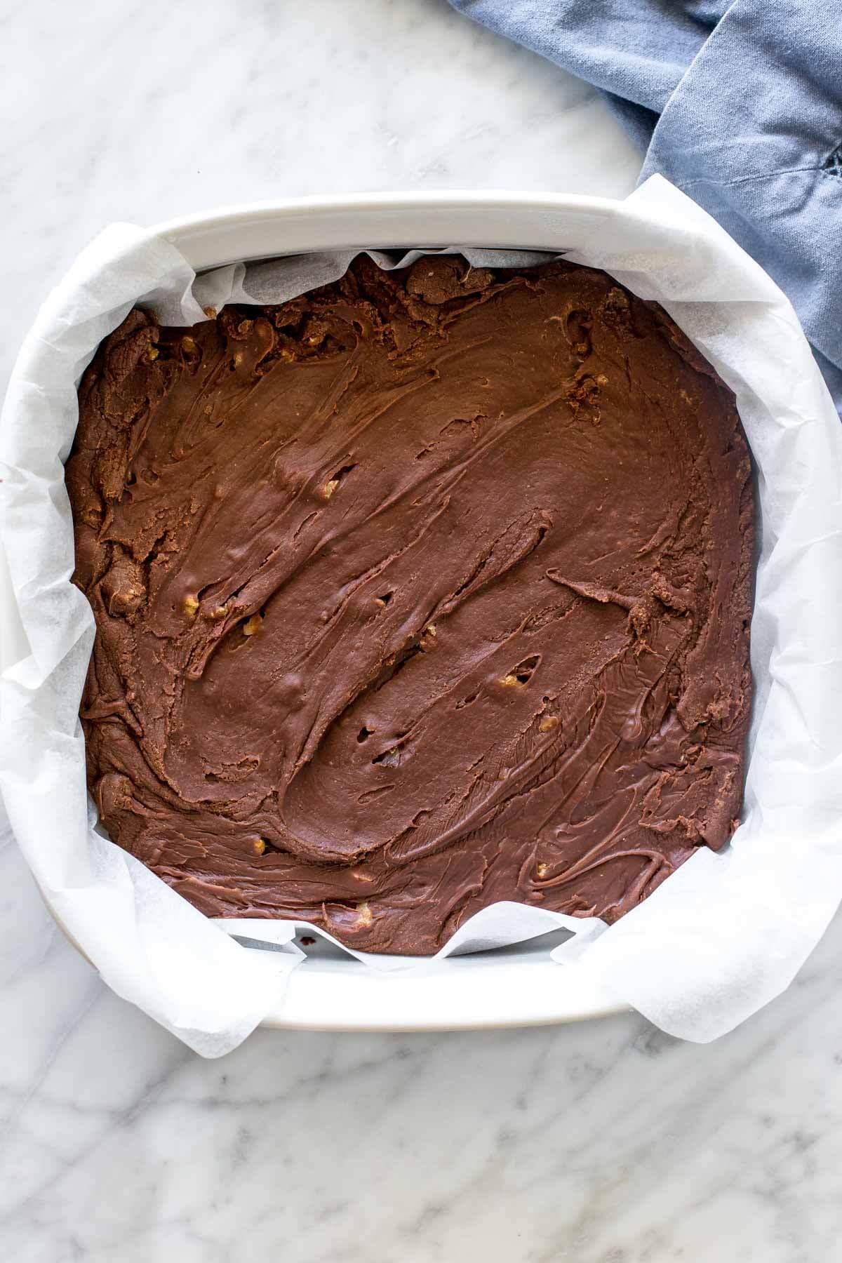 Pam of chocolate walnut fudge.