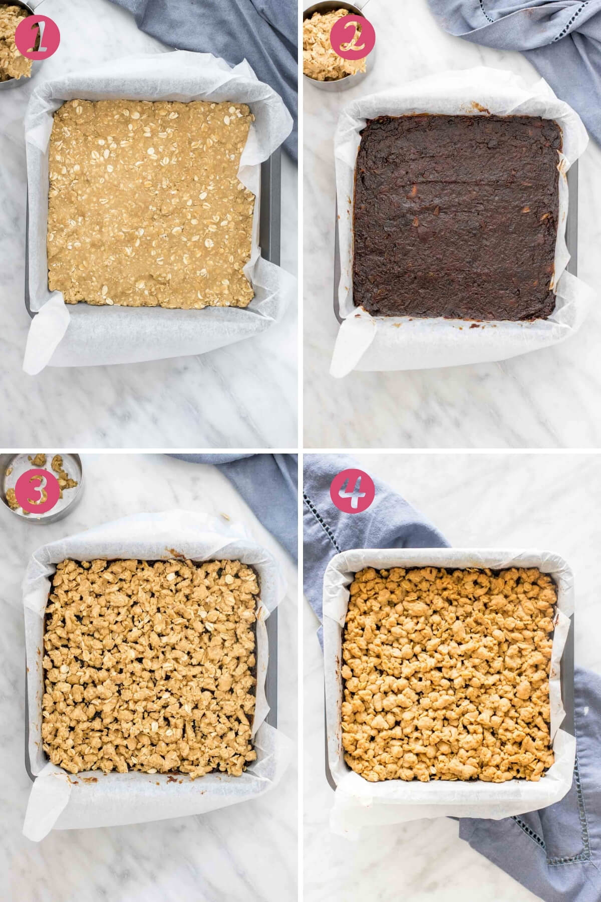 4 step by step photos of making date squares.