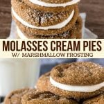 These molasses cream pie cookies are chewy, flavorful and completely irresistible. They feature 2 super soft ginger molasses cookies with creamy, fluffy marshmallow frosting. These are even more delicious than Lil Debbie Oatmeal Cream Pies - and perfect for the holidays too. #sandwichcookies #creampies #gingermolassescookies #gingercookies #molassescookies #marshmallowfrosting #frosting from Just So Tasty